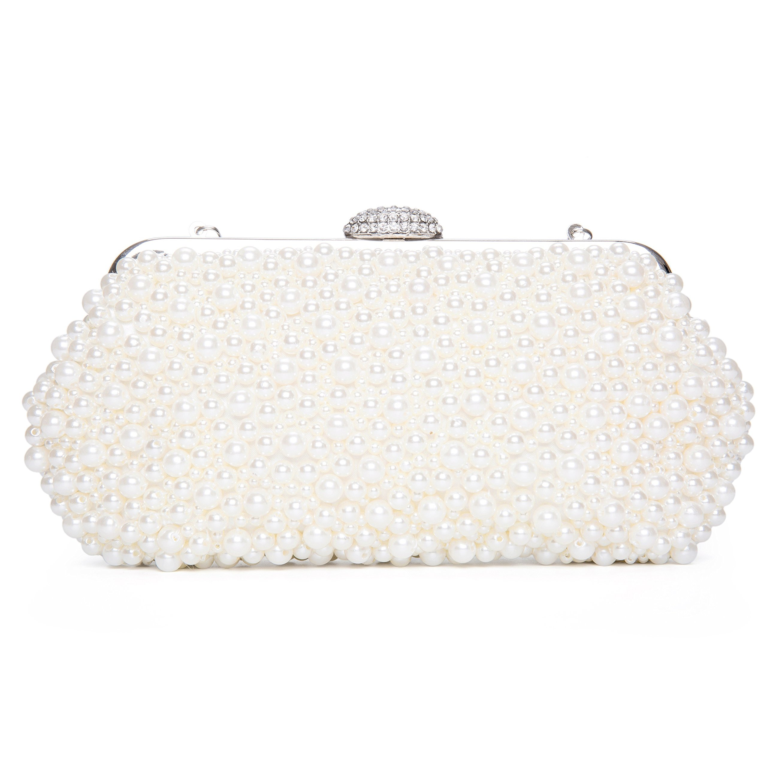 Kisschic Women Faux Pearl Bead Rhinestone Evening Clutch Clutches Bag Handbag Pearl Evening bags (Beige)