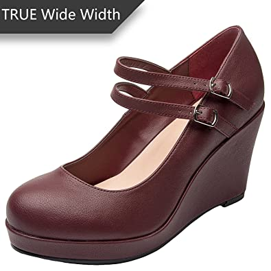 6b82543af43c Luoika Women s Wide Width Wedge Shoes - Ankle Buckle Strap Round Closed Toe  Mary Jane Shoes