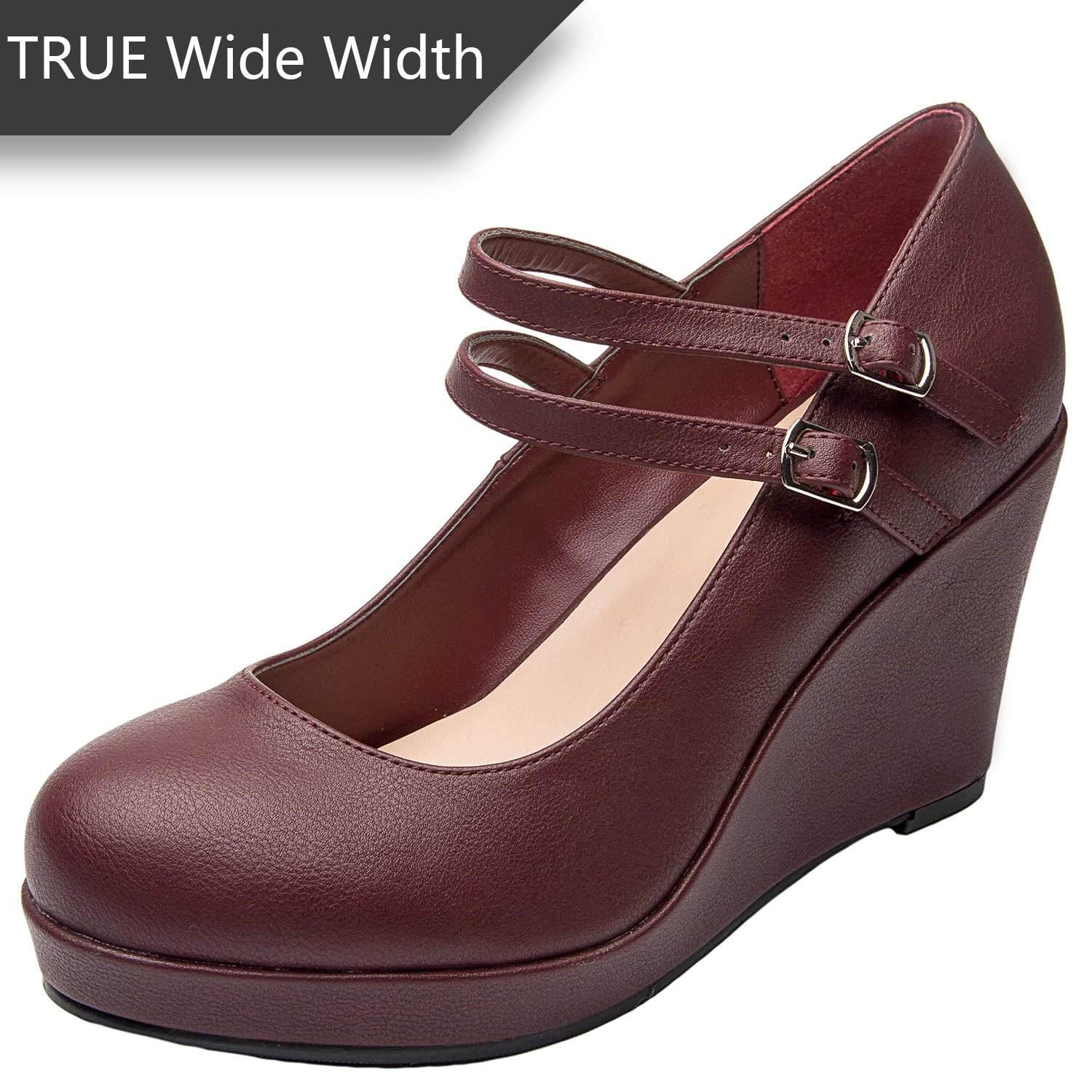 Luoika Women's Wide Width Wedge Shoes - Ankle Buckle Strap Round Closed Toe Mary Jane Shoes Heel Pump(Burgundy 180318,12WW)