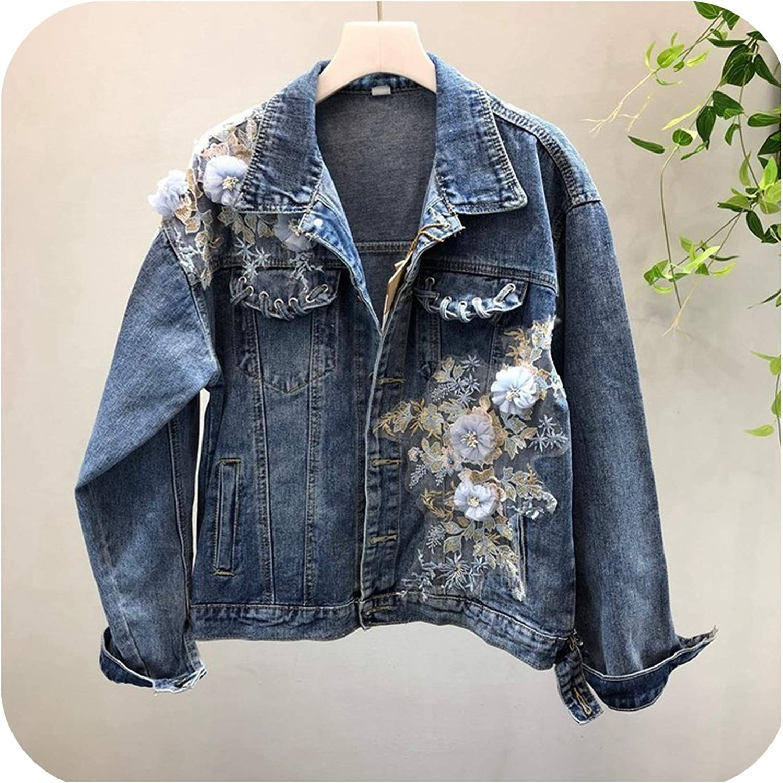 Floral Embroidery Denim Jacket Korean Loose Jeans Jacket Women