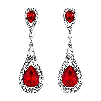 Pendientes elegante retro con forma de gota de agua con zirconia roja.