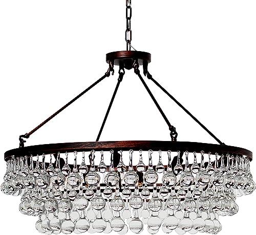 LightUpMyHome Celeste Glass Drop Crystal Chandelier, Oil Rubbed Bronze, Hanging or Flush Mount
