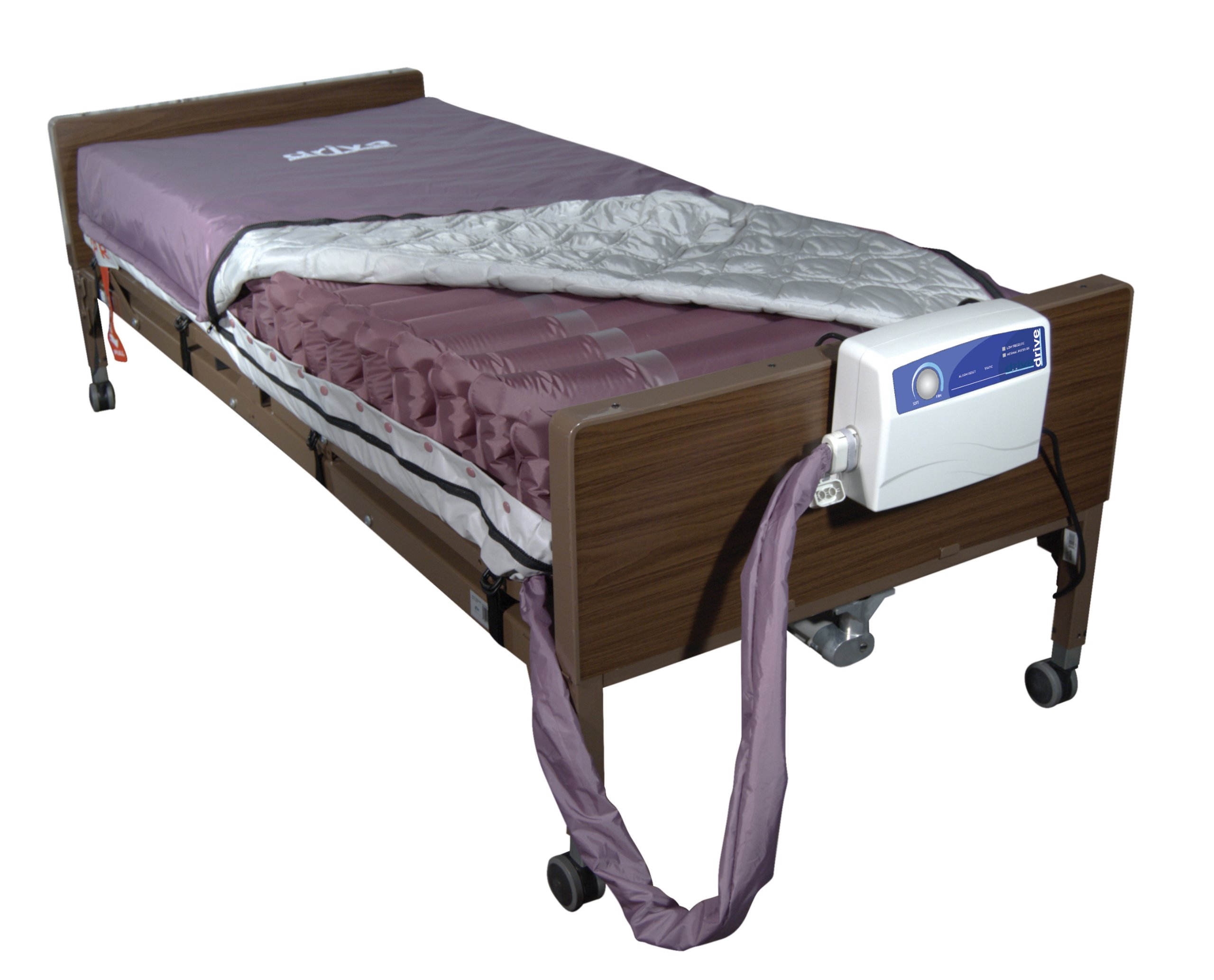 Drive Medical Med Aire Low Air Loss Mattress Replacement System with Alternating Pressure, Dark Purple, 8''