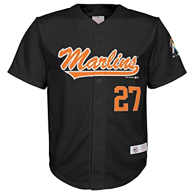 7ff75a67d Outerstuff Giancarlo Stanton Miami Marlins #27 Black Youth Player Fashion  Jersey (X-Small