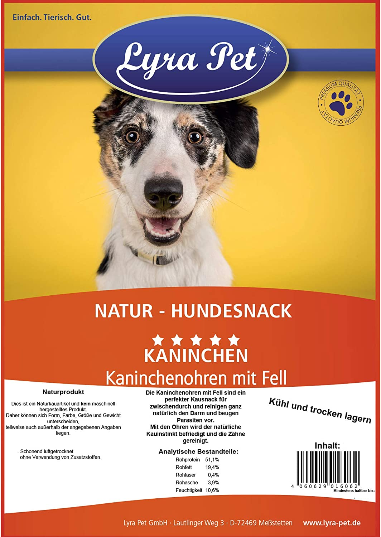 Lyra Pet/® 5 kg Kaninchenohren mit Fell Kauartikel Hase Hasenohren Hundefutter
