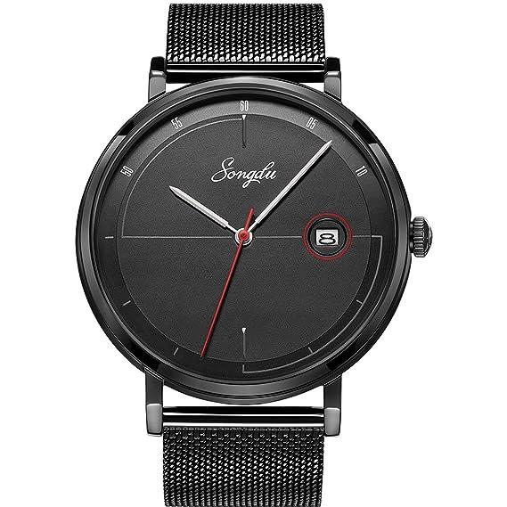 aaebef0d70 SONGDU メンズ アナログ クォーツ ウォッチ ファッション 人気 クラシック 日付 メッシュバンド 腕時計 (ブラック)