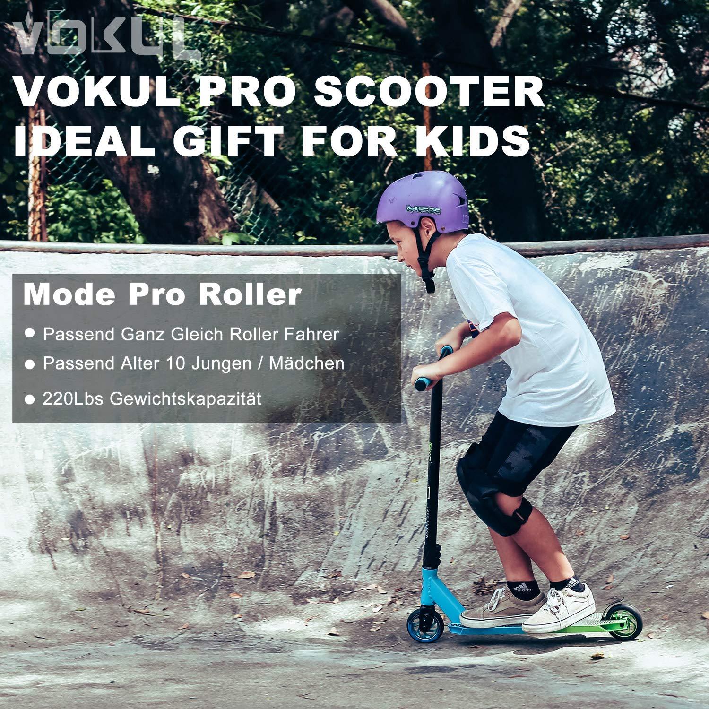 VOKUL BZIT K1 Pro Stunt Patinetes - Scooter de Estilo Libre con Ruedas de PU de 110 mm para Adultos (Verde&Azul)
