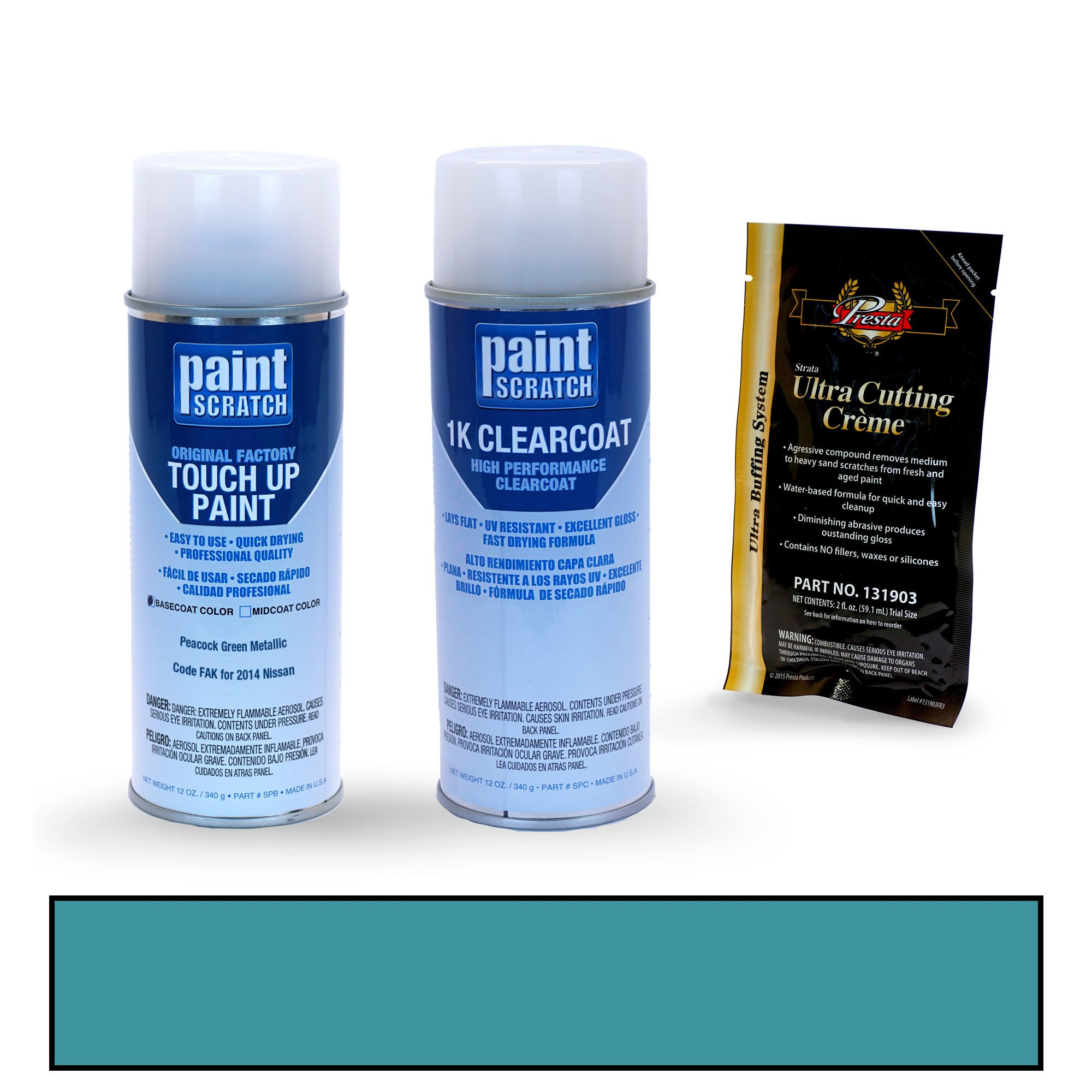 PAINTSCRATCH Peacock Green Metallic FAK for 2014 Nissan Versa - Touch Up Paint Spray Can Kit - Original Factory OEM Automotive Paint - Color Match Guaranteed
