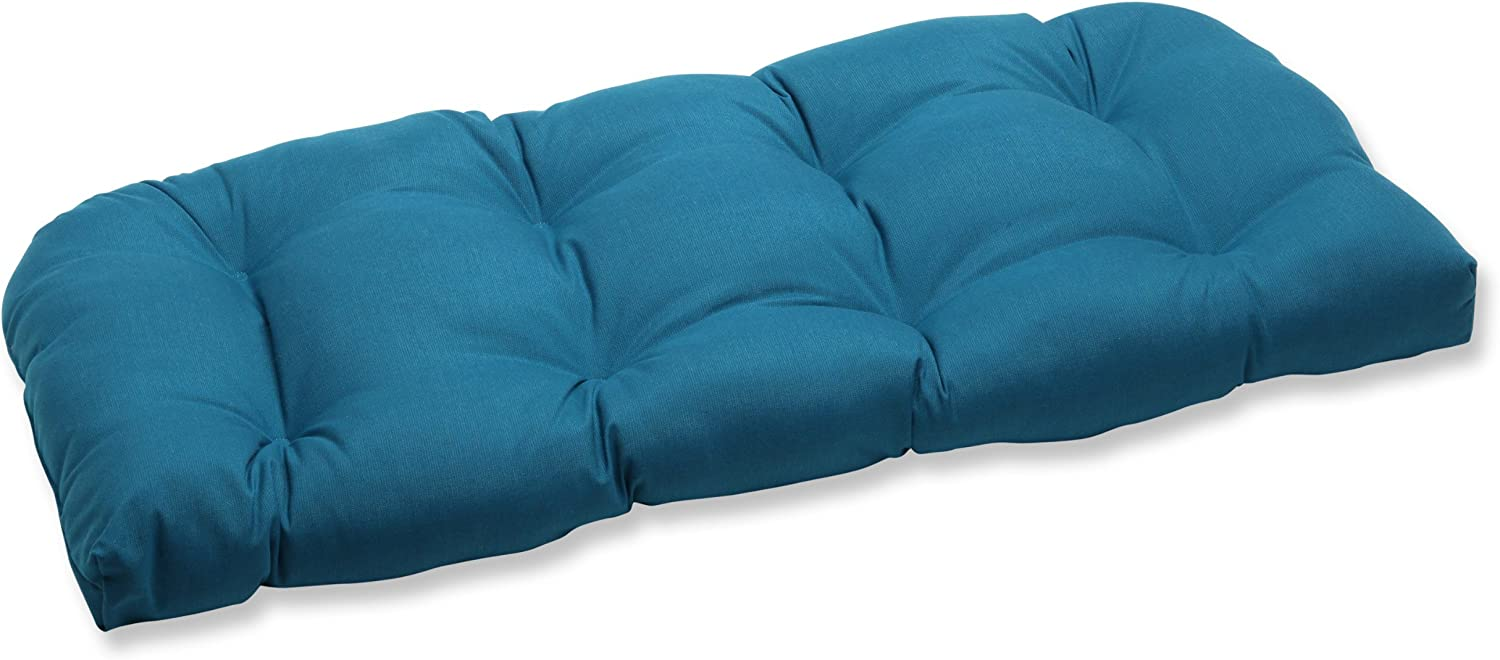 Pillow Perfect Indoor/Outdoor Wicker Loveseat Cushion with Sunbrella Spectrum Peacock Fabric, 44 in. L X 19 in. W X 5 in. D,Blue