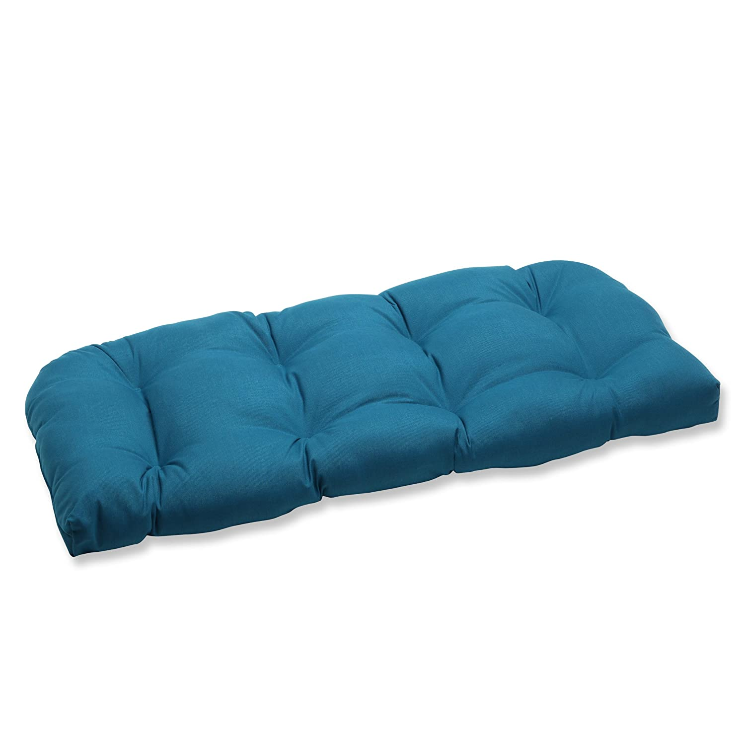 Pillow Perfect Indoor Outdoor Wicker Loveseat Cushion with Sunbrella Spectrum Peacock Fabric, 44 in. L X 19 in. W X 5 in. D