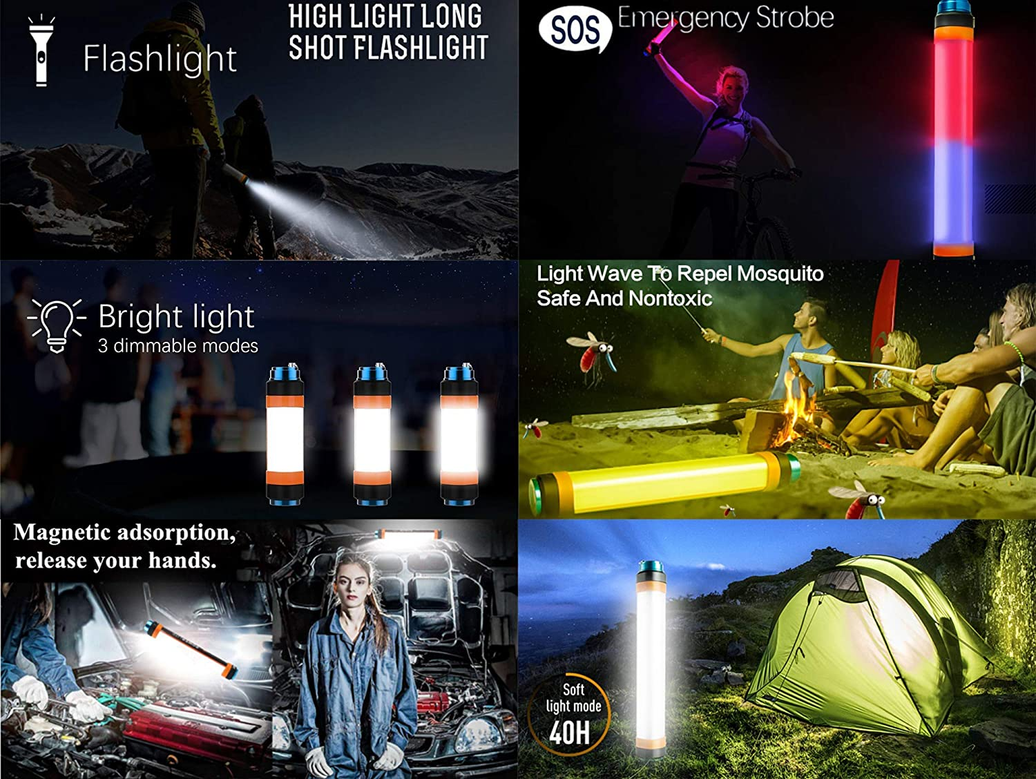 Multi-function Led Flashlight Camping Lights With USB 7800mAh Power Banks IP68 Waterproof Magnetic Bases USB Rechargeable Torch SOS Flashing light Mosquito Repellent Lamp Led Lantern