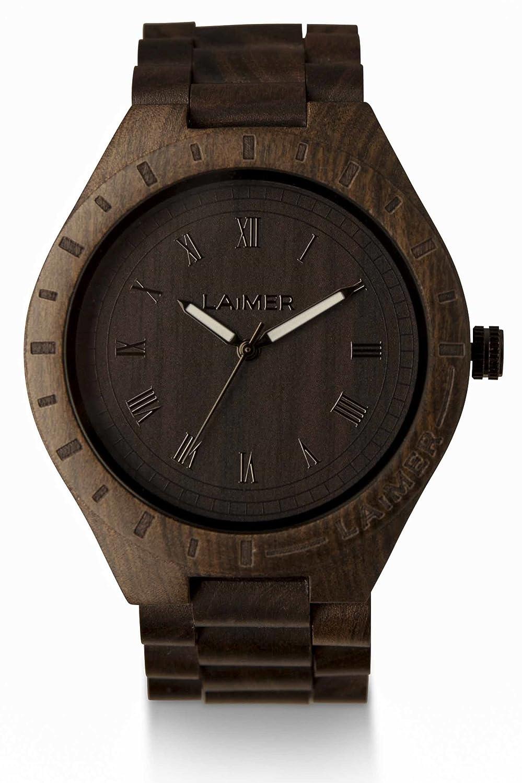 Laimer Reloj Analógico de Cuarzo para Hombre con Correa de Madera - 18: Amazon.es: Relojes
