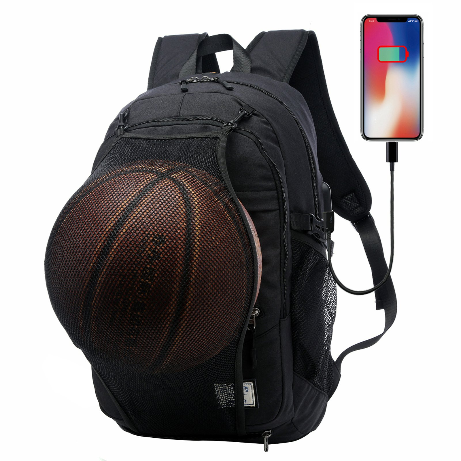 GOHIGH Basketball Backpack, Soccer Backpack, Football Backpack, Computer Backpack Business Laptop Backpack with USB Port, Headphone Pouch and Ball Holder with Basketball Net for Women/Men - Black
