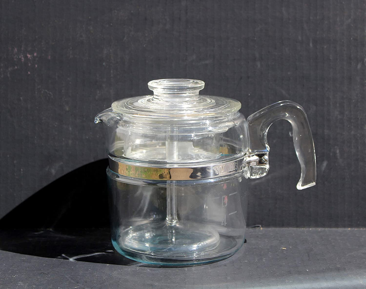 Vintage Pyrex 6 Cup Glass Flameware Coffee Percolator Number 7756 Stainless Steel Band