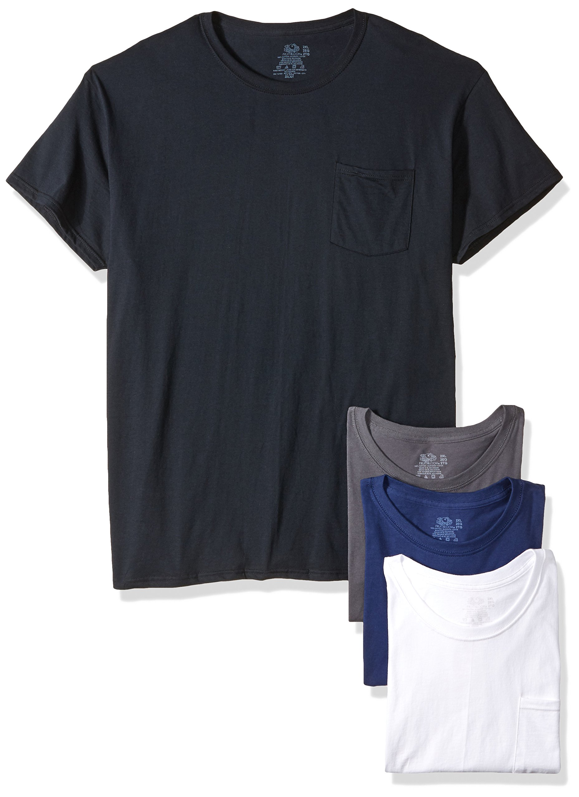 Fruit of the Loom Men's Pocket Crew Neck T-Shirt - XX-Large - Assorted Colors (Pack of 4)