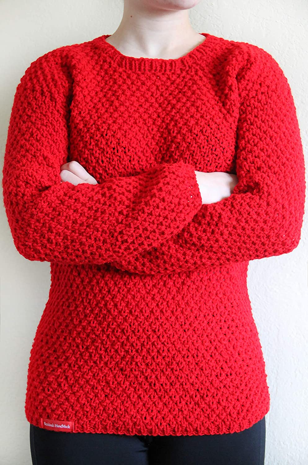 a394ece05640 Amazon.com  Women s hand knitted a crew-neck sweater Red Cherry ...