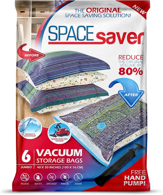 Space Saver - Bolsa de Almacenamiento al vacío Reutilizable, Extragrande, 6 Unidades, Cremallera Doble y válvula de Salida, Incluye Bomba de Viaje, incoloro, Jumbo - 6 Pack