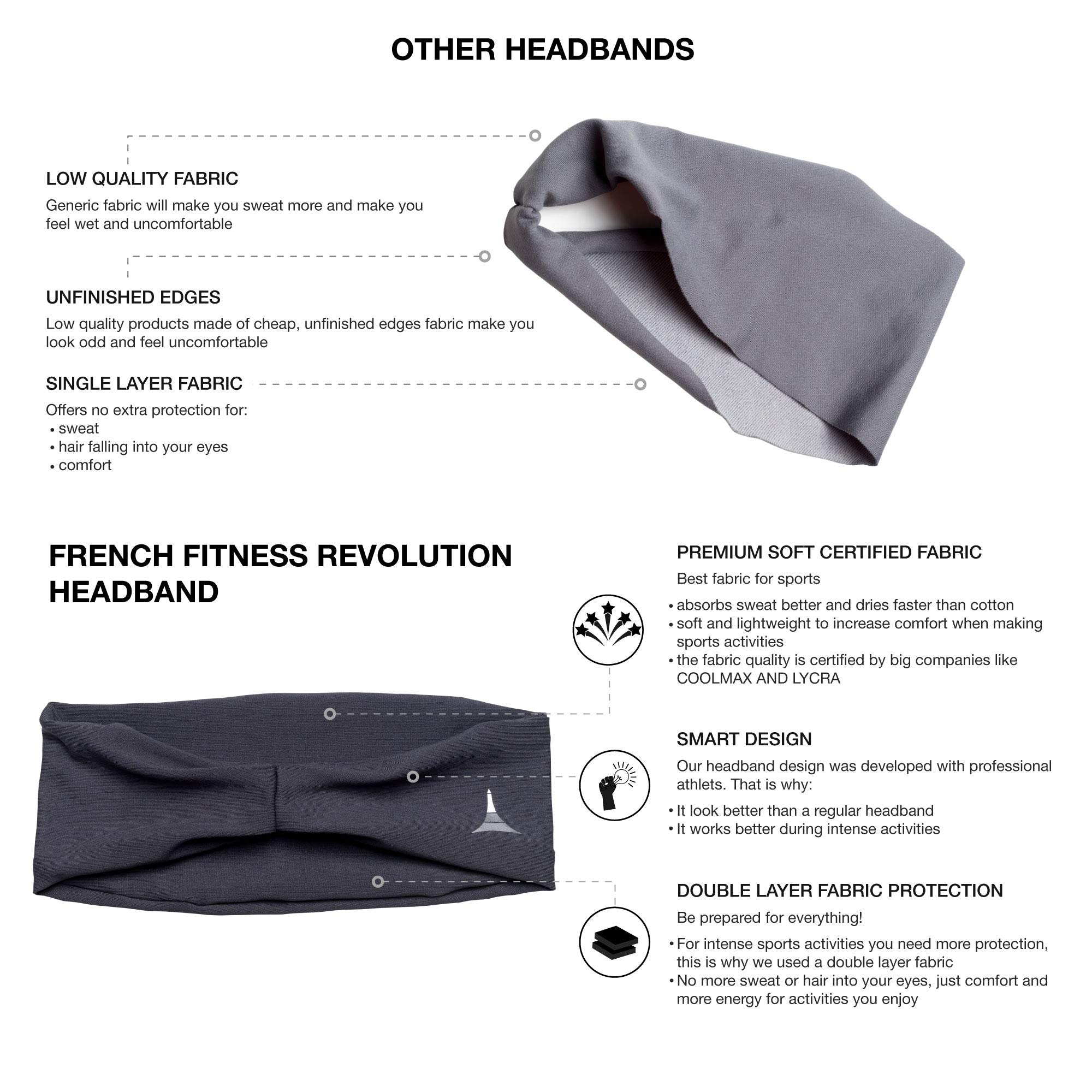 French Fitness Revolution Mens Headband - Guys Sweatband & Sports Headband for Running, Crossfit, Working Out and Dominating Your Competition - Performance Stretch & Moisture Wicking by French Fitness Revolution (Image #7)