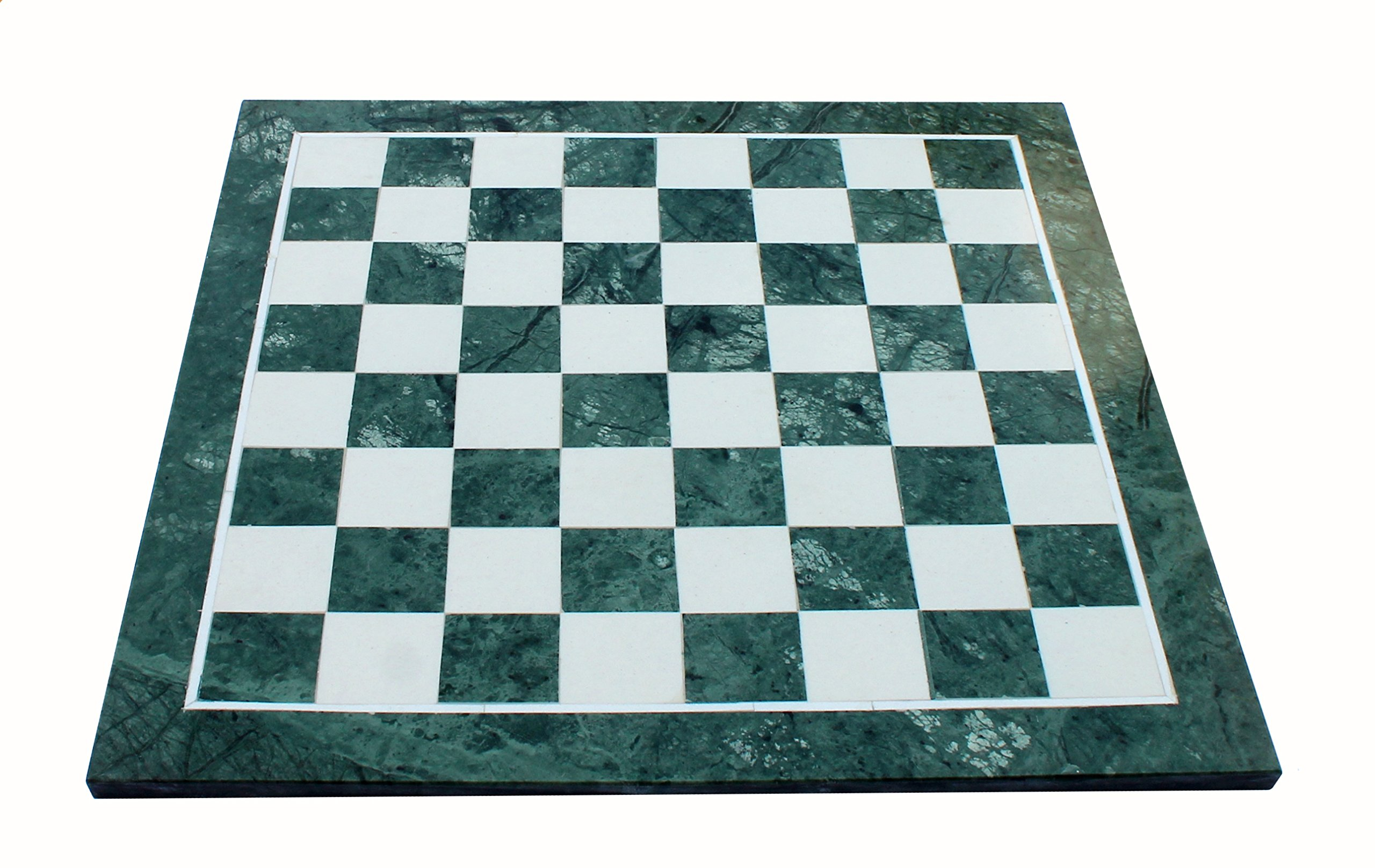 StonKraft 20'' X 20'' Collectible Green Marble Stone Large Chess Board Without Pieces - Appropriate Wooden & Brass Chess Pieces Chessmen separately availabe by StonKraft Brand by StonKraft (Image #1)
