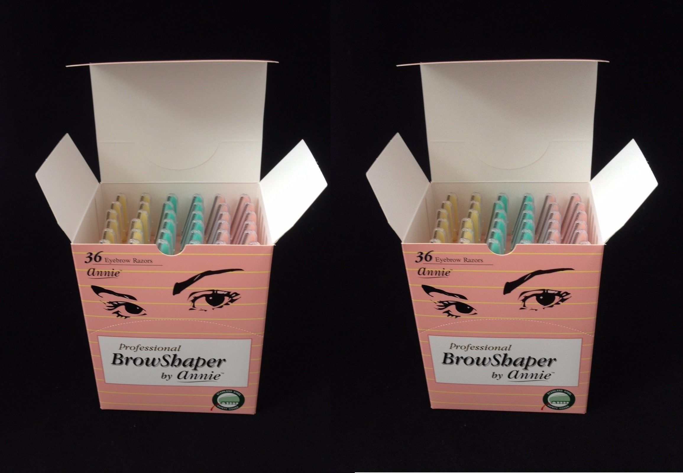(PACK OF 2) ANNIE EYEBROW SHAPER RAZOR DISPLAY #5131 (36PC)