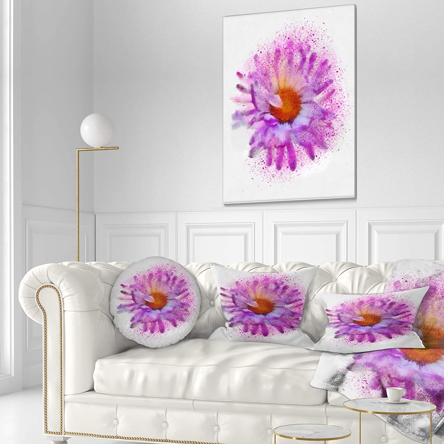 Insert Printed On Both Side Designart CU13710-16-16-C Large Purple Watercolor Flower Floral Round Cushion Cover for Living Room Sofa Throw Pillow 16