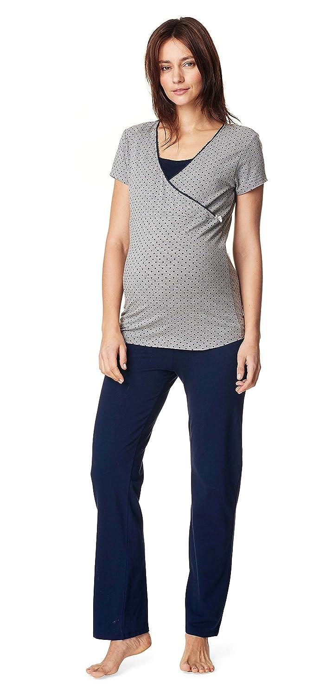 Noppies Nursing Schlafanzug Anika Sleep Shirt + Hose/Pyjama Nachtwäsche Still- Umstandsschlafanzug 66604-66600 20567-20565
