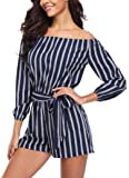 MISS MOLY Women Rompers Off Shoulder Striped Mid Rise 3/4 Sleeves Boat Neck Cute Playsuits Jumpsuit