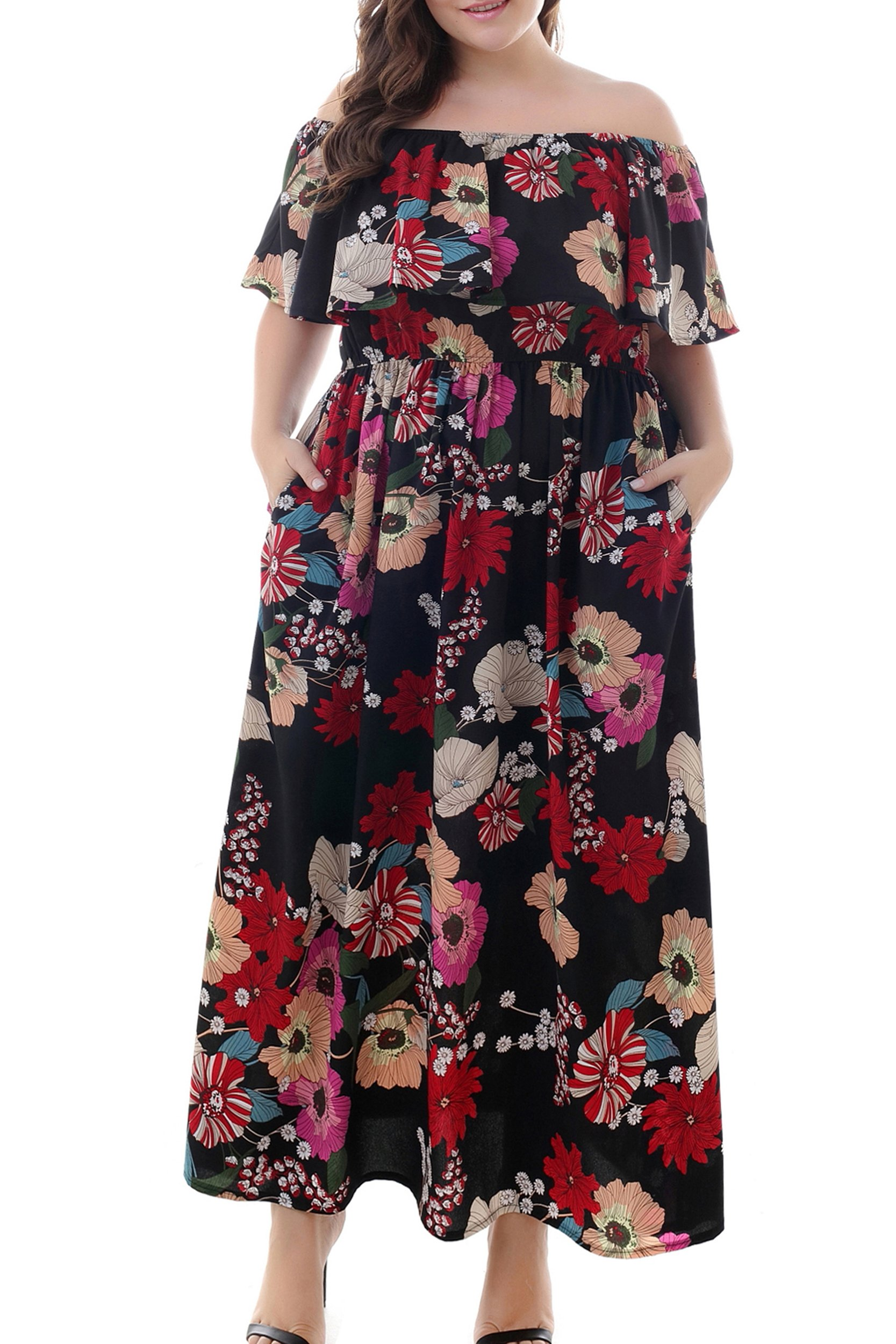 Nemidor Women's Floral Print Off Shoulder Summer Casual Plus Size Maxi Dress with Pocket (Red+Print, 24W)