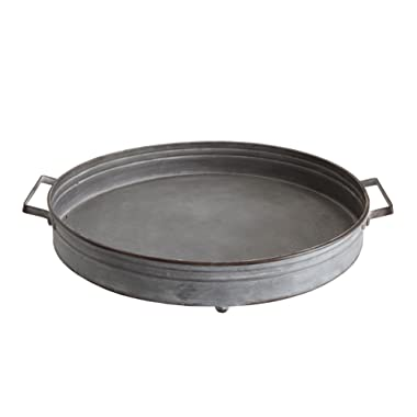 Creative Co-op Round Decorative Iron Tray with Handles