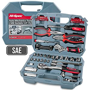 Hi-Spec Car Tool Kit, DT30016, SAE Auto Mechanics Tool Set - 3/8