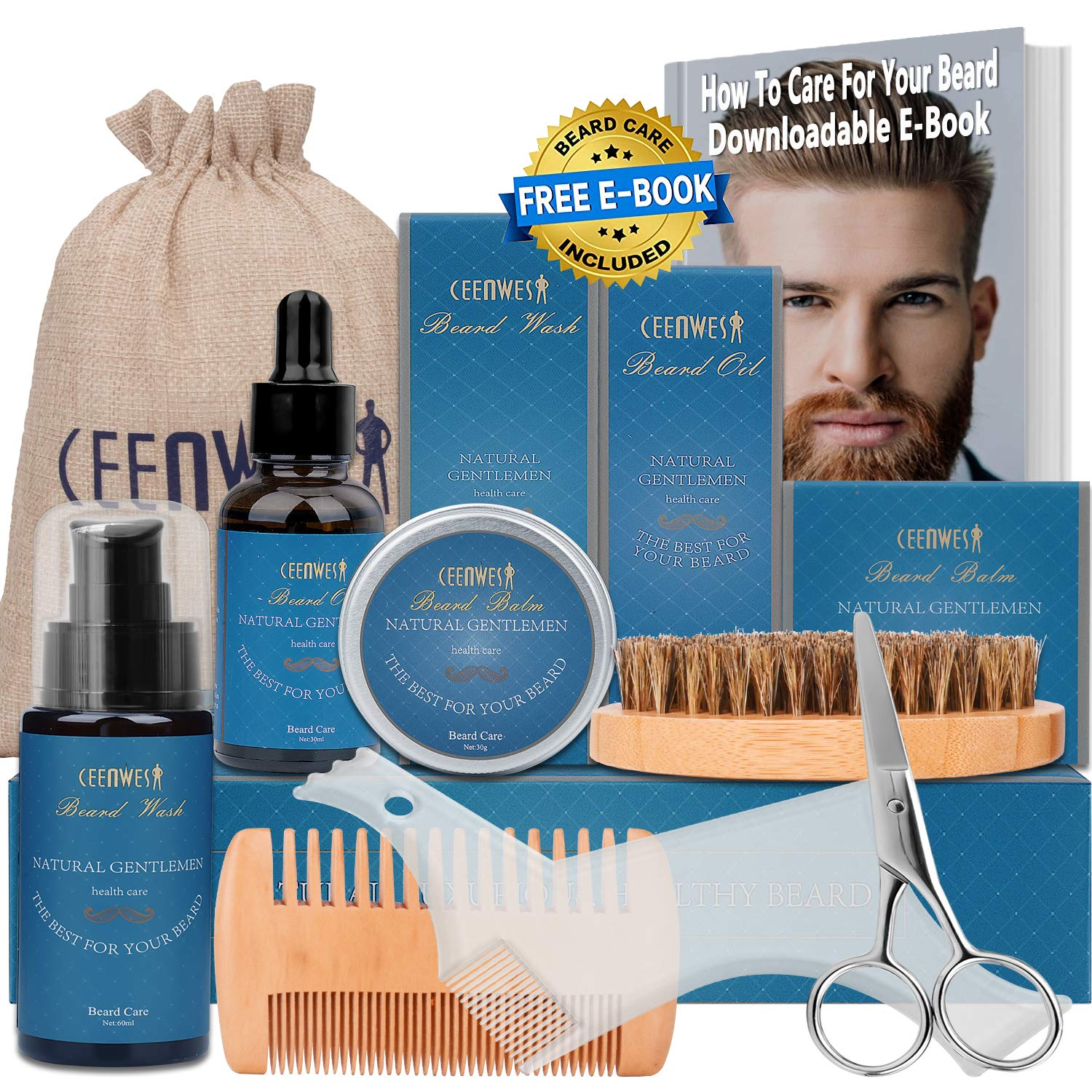 9 in 1 Beard Grooming Kit for Beard Care Unique Gifts for Men, Beard Oil, Beard Brush, Beard Comb, Beard Balm, Beard Shampoo, Beard & Mustache Scissors Beard Growth & Trimming Kit