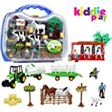 Kiddie Play Farm Set Toy for Kids with Animals Milking Station livestock Transporter and Tractor (25 pieces)