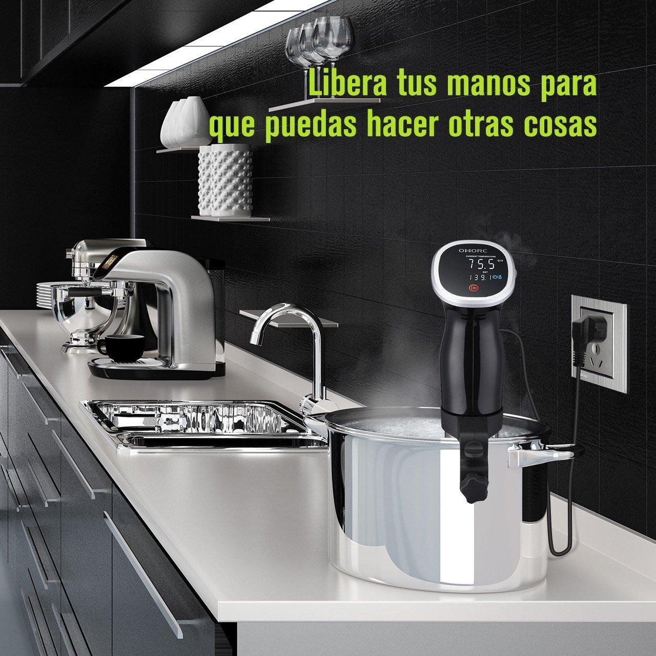 OMORC Sous Vide Cocina Precisi/ón F/ácil Lavable Cocinero Circulador Mantiene la Comida de Sabores Aut/énticos y Naturales Silencioso y Preciso Circulaci/ón de la Temperatura
