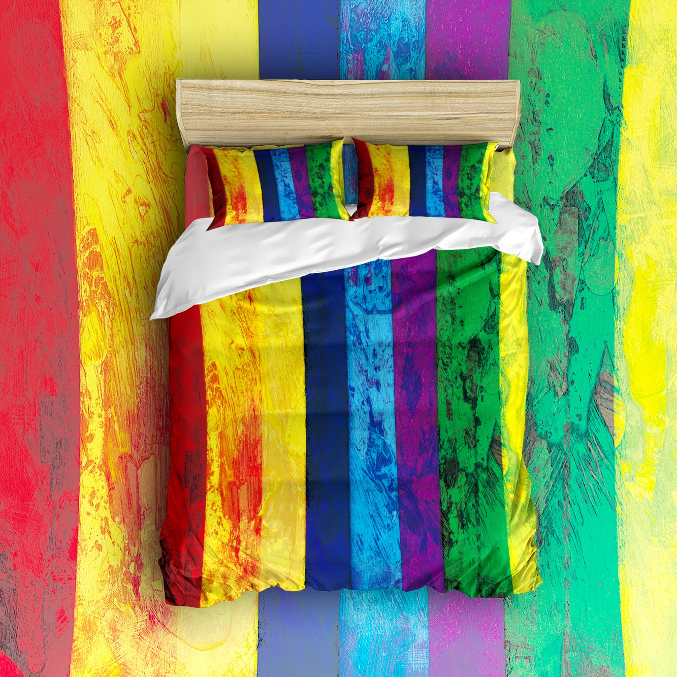 Libaoge 4 Piece Bed Sheets Set, Classic Retro Colorful Rainbow Stripes, 1 Flat Sheet 1 Duvet Cover and 2 Pillow Cases
