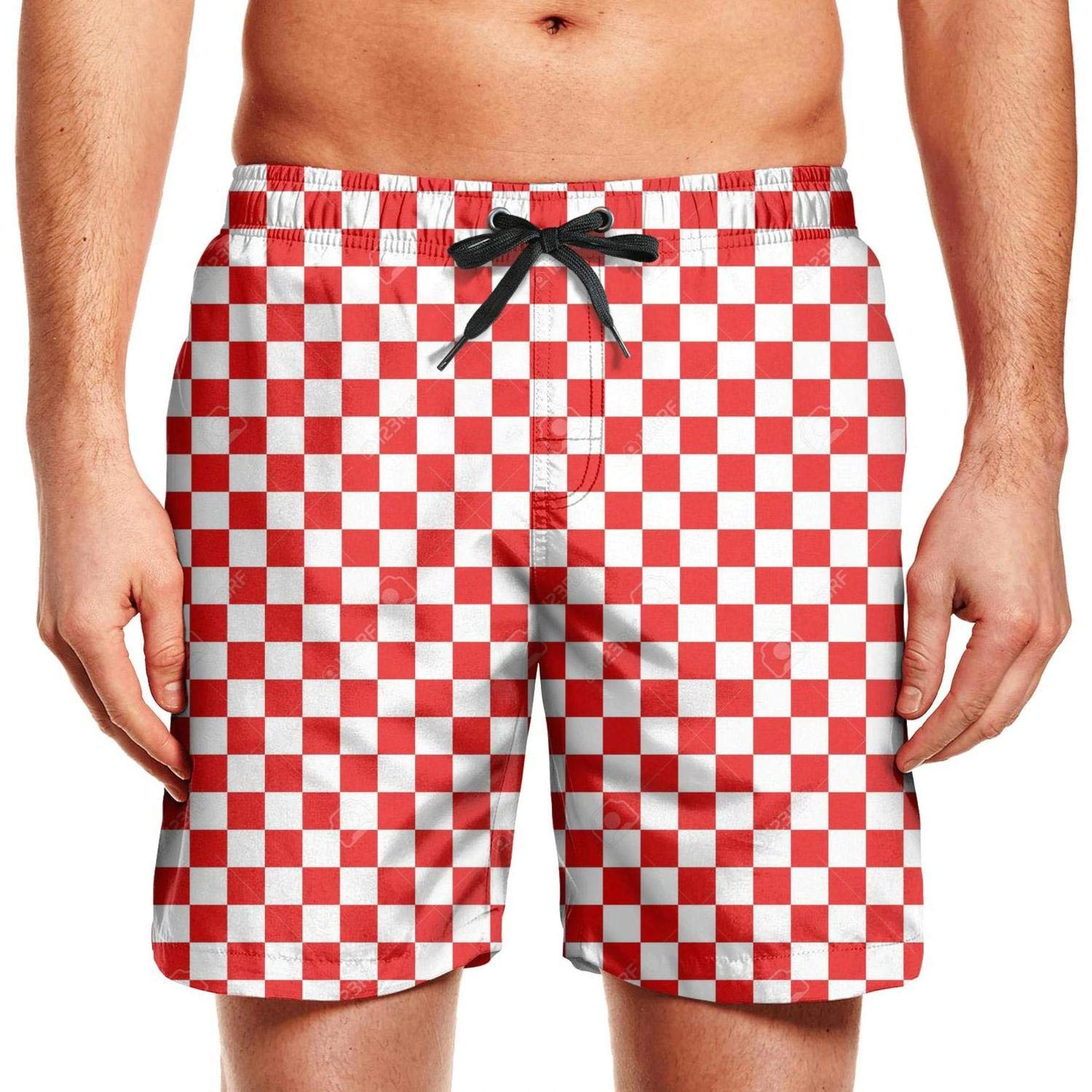 QDFGDFSDX Popular-Yellow-and-Blue-Checkered Casual Beach Shorts Watersports Breathable Men