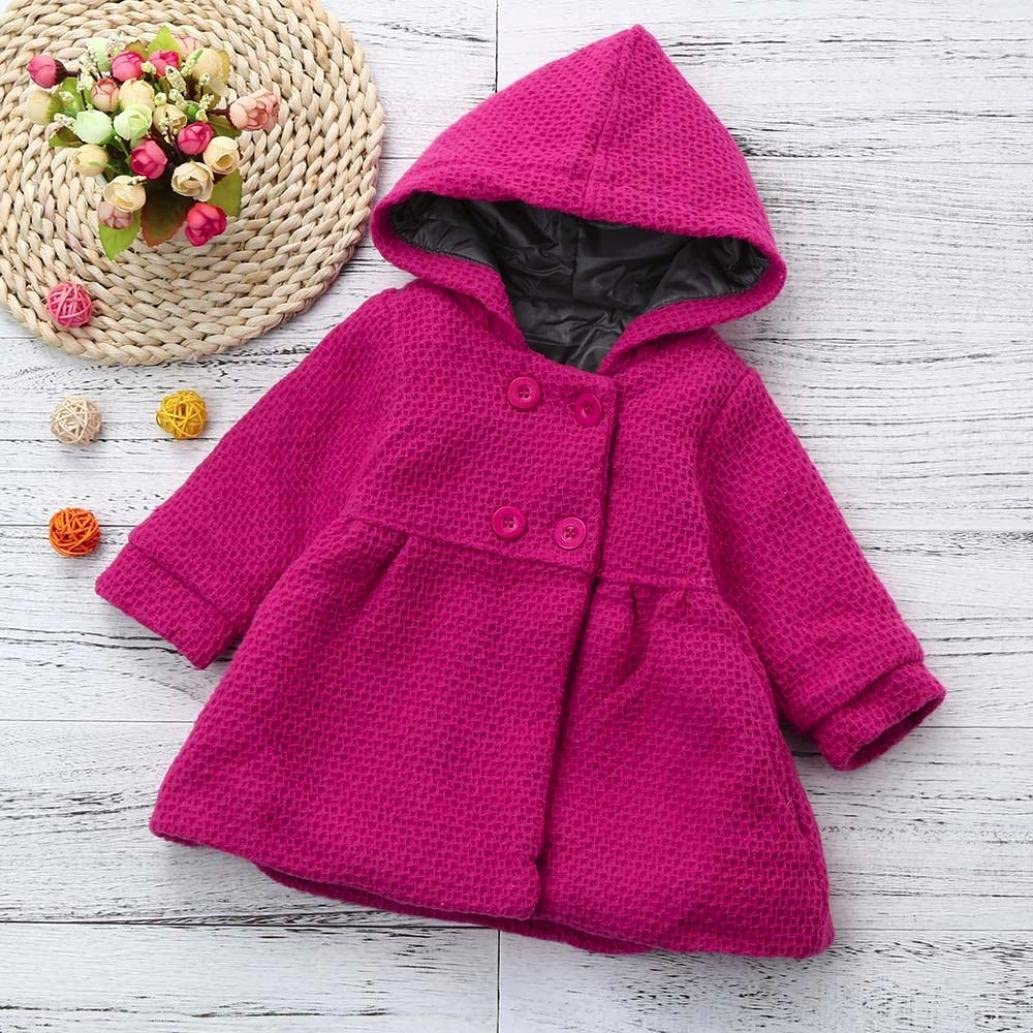 Digood Toddler Newborn Baby Kids Girls Autumn Winter Hooded Overcoat Cloak Jacket Thick Warm Outerwear Clothes