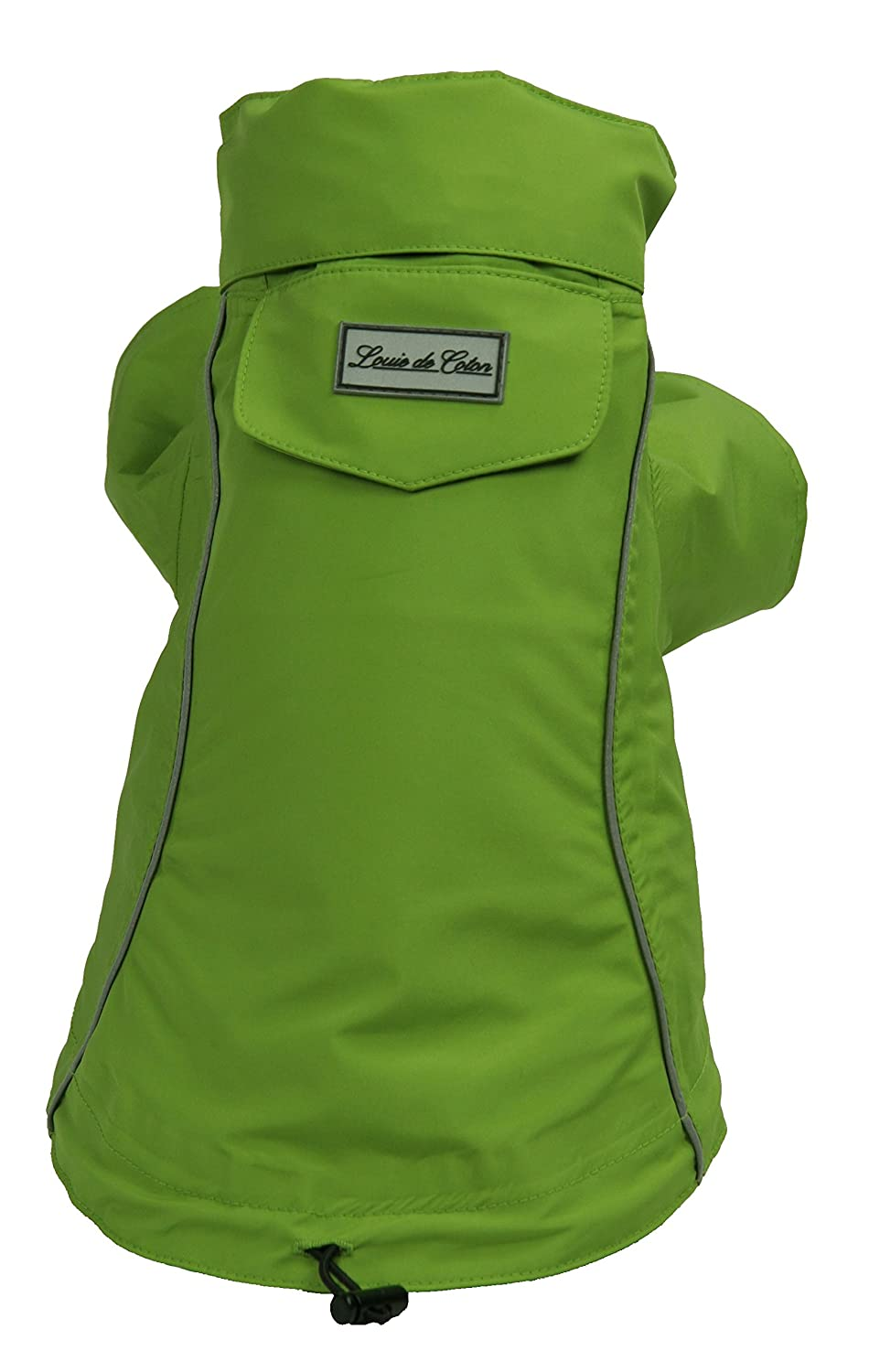 Small Louie de Coton Made in USA Limited Edition Waterproof Breathable Reflective Packable Pet Rain Coat with Stow Away Hood, Green (Small)
