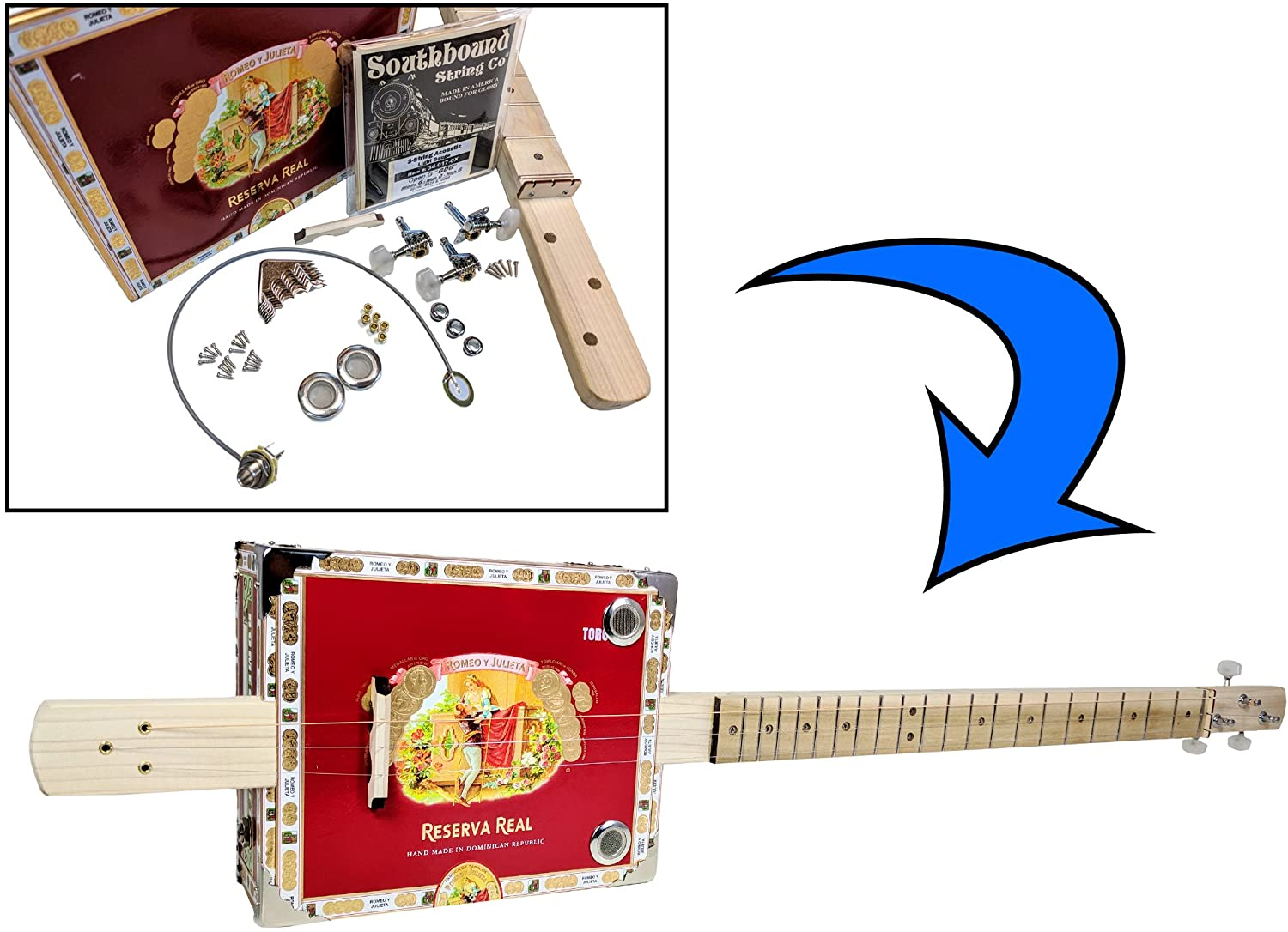 Complete DIY 3-String Fretted Cigar Box Guitar Kit with Neck – includes Acoustic/Electric Pickup