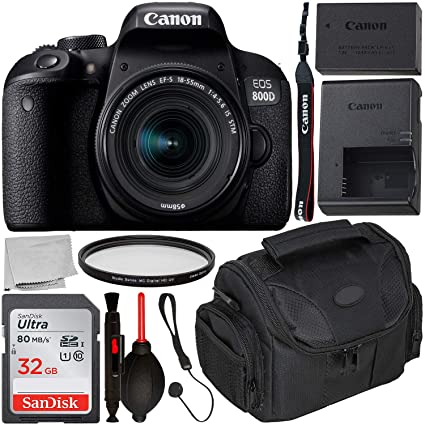 Canon EOS 800D DSLR Camera with 18-55mm is STM Lens & Starter Accessory  Bundle – Includes: SanDisk Ultra 32GB SDHC Memory Card + Camera Carrying  Case