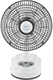 "Akari Ak-8008 8"" Rechargeable Ac/Dc Table Fan With Emergency Led Light, Solar Charging Facility -White"