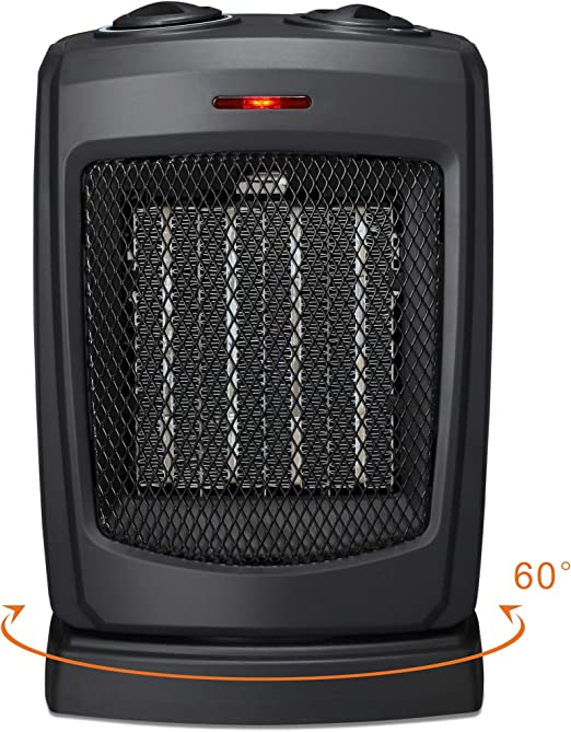 Brightown 750W//1500W ETL Listed Quiet Ceramic Space Heater with Adjustable Therm