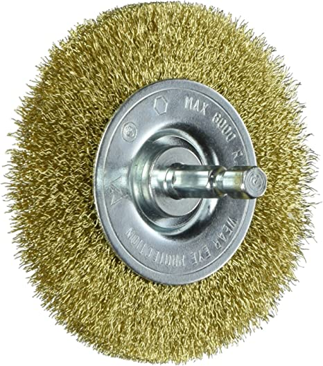 Vermont American 16791 3-Inch Course Brass Wire Wheel Brush with 1//4-Inch Hex Shank for Drill