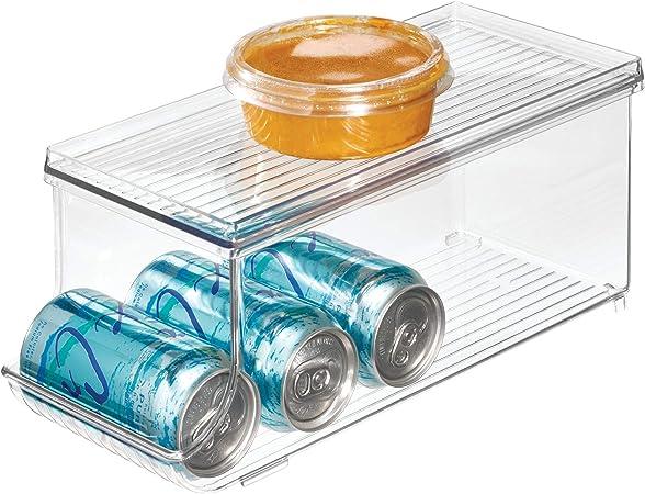 iDesign Caja organizadora para frigorífico con tapa, organizador de nevera de plástico para 9 latas de bebidas, organizador de cocina para conservas, transparente: Amazon.es: Hogar
