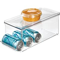 InterDesign Fridge/Freeze Binz Storage Boxes, Plastic Kitchen Storage Container for the Fridge with Space for 9 Drinks…