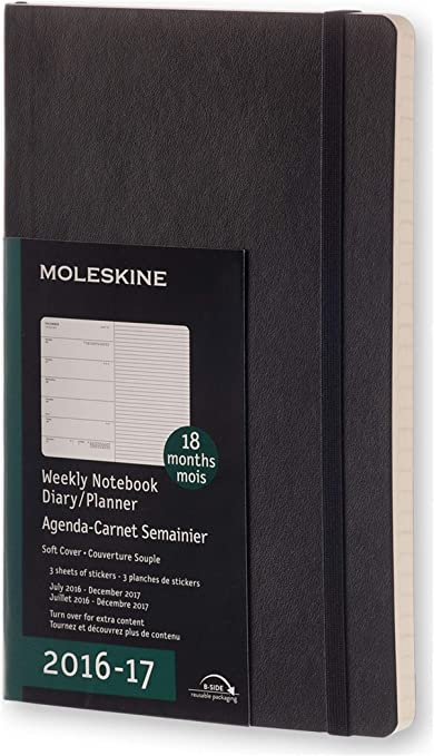 Moleskine DSB18WN3Y17 - Agenda semanal 18 meses, L 13 x 21, color ...