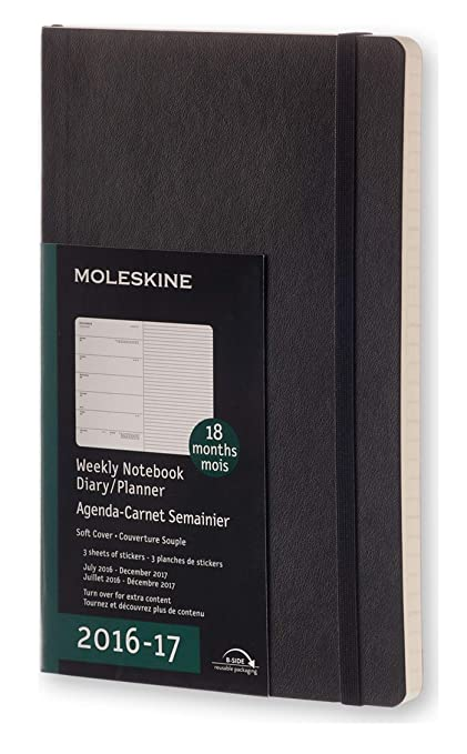 Moleskine DSB18WN3Y17 - Agenda semanal 18 meses, L 13 x 21, color negro