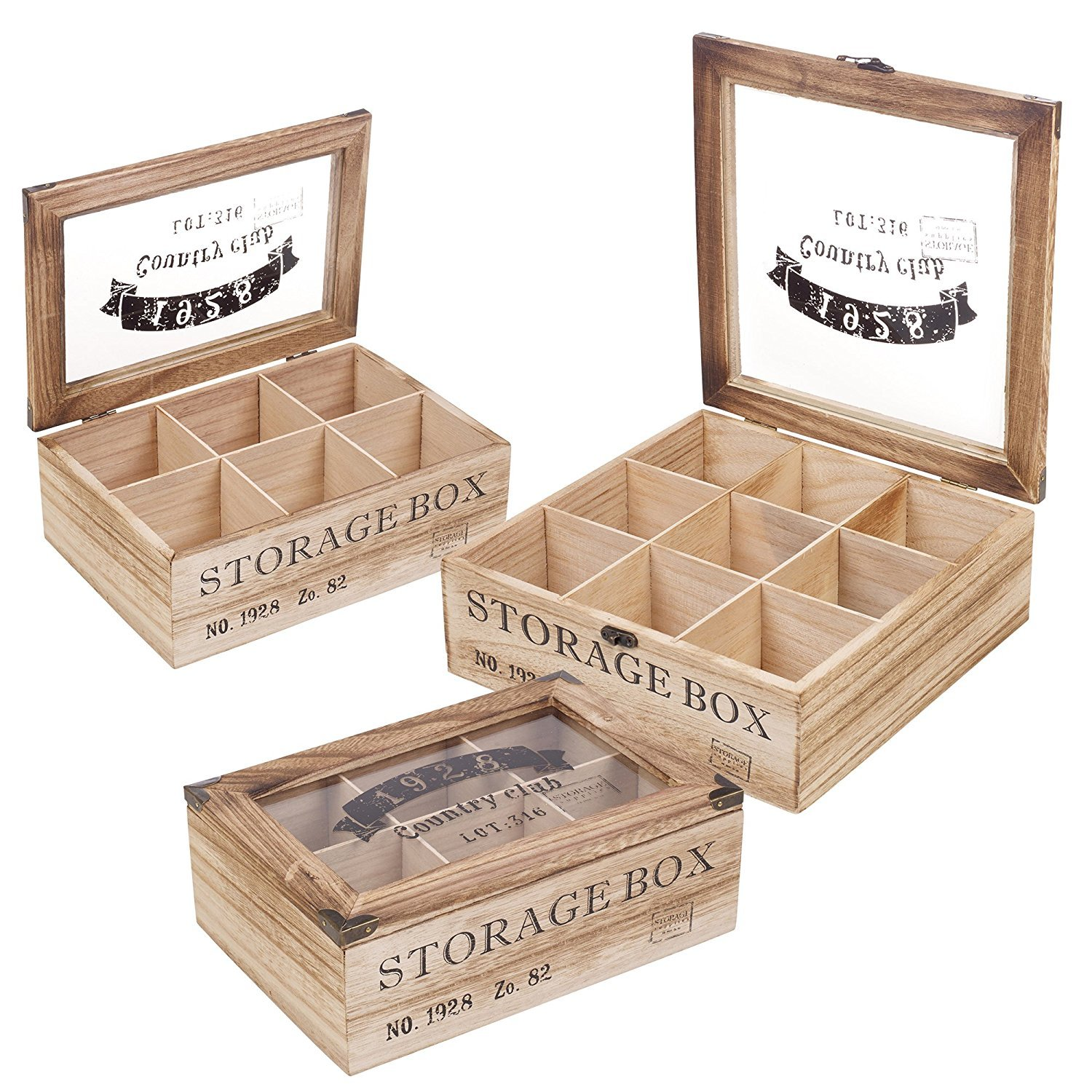 EG Homeware Wooden Tea Storage Box Glass Lid- Choice Of 6 Or 9 Compartements (9 Compartments)