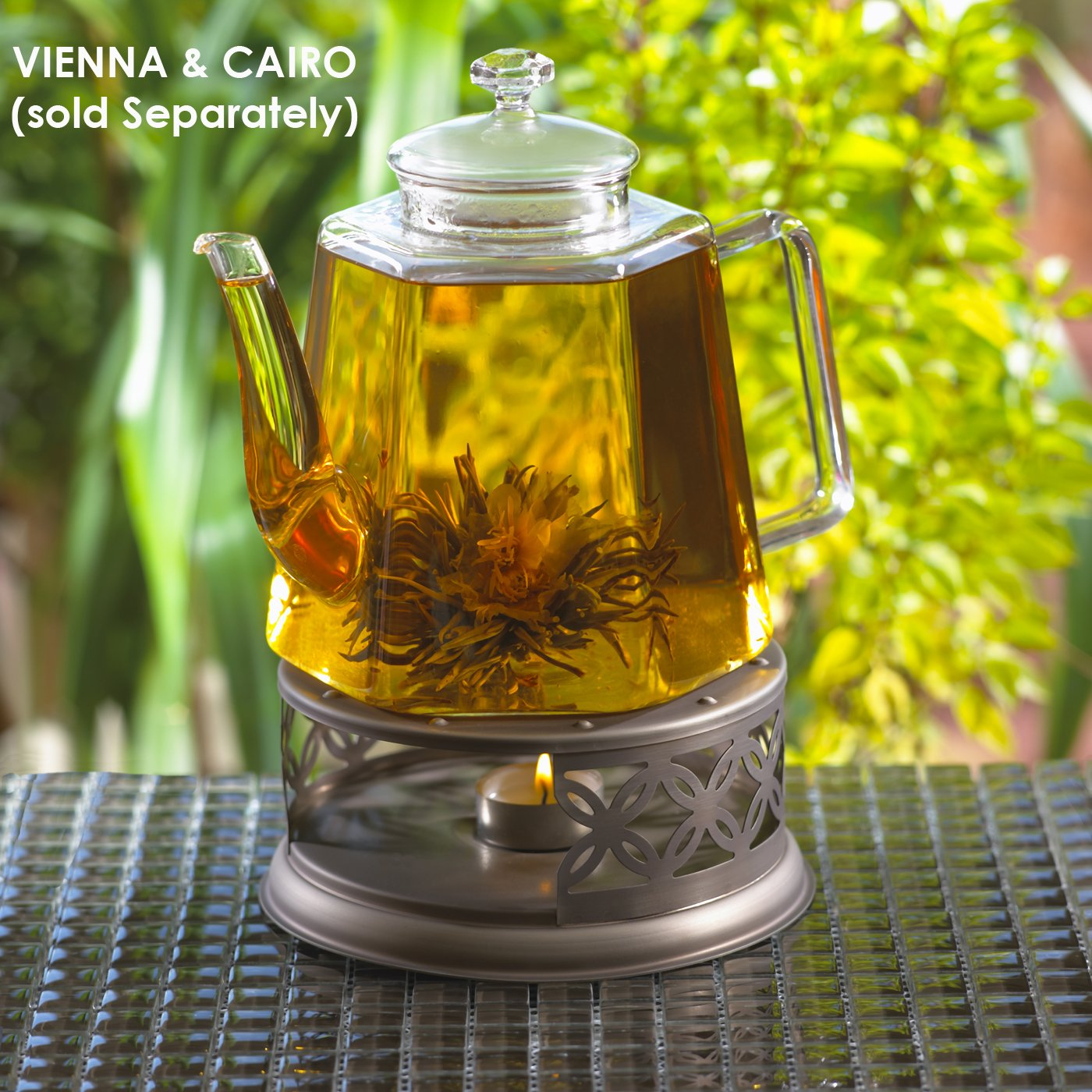 GROSCHE Cairo Premium Teapot Warmer with tea lite candle. For glass teapot and other heatproof dish warming use.