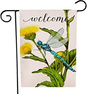 Kissenday Welcome Linen Garden Flag, 12.5x18 Inch Vertical Double Sided, Sunflower Dragonfly Banner Flag Spring Summer Holiday Yard Outdoor Decor