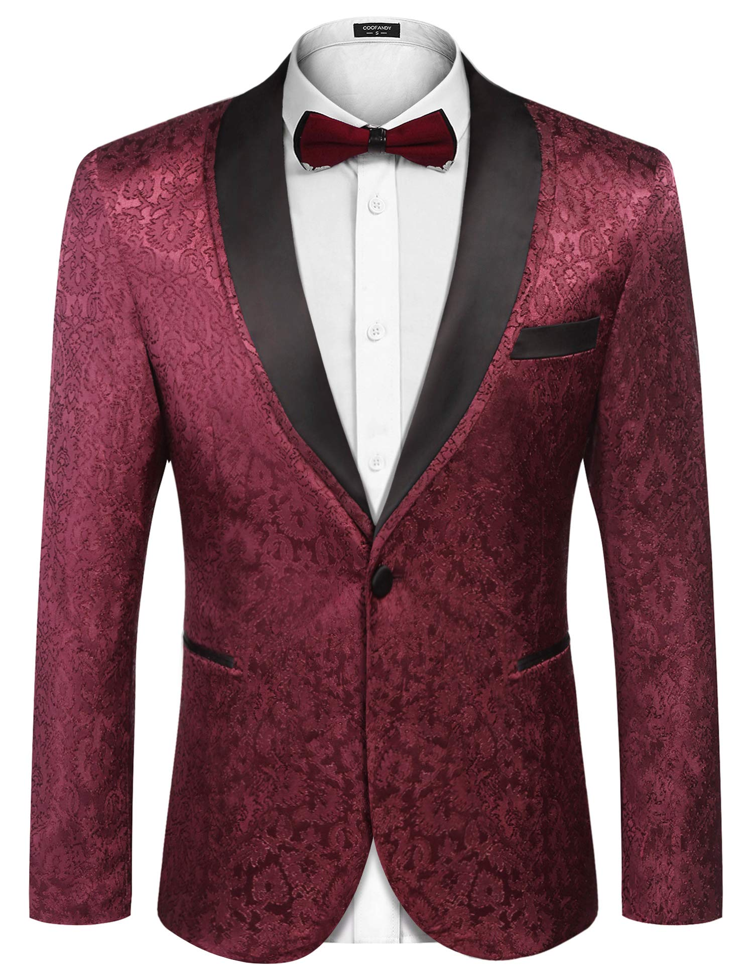 COOFANDY Men's Floral Tuxedo Suit Jacket Slim Fit Dinner Jacket Party Prom Wedding Blazer Jackets Wine Red by COOFANDY